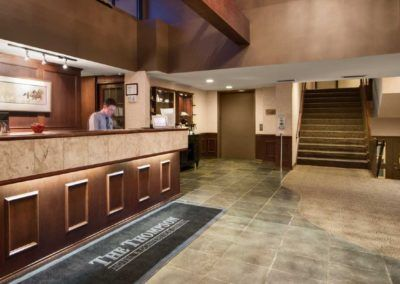 Front desk and lobby areas at Thompson Hotel in Kamloops